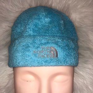 The North Face Fleece Beanie Winter Hat Sherpa Blue Grey